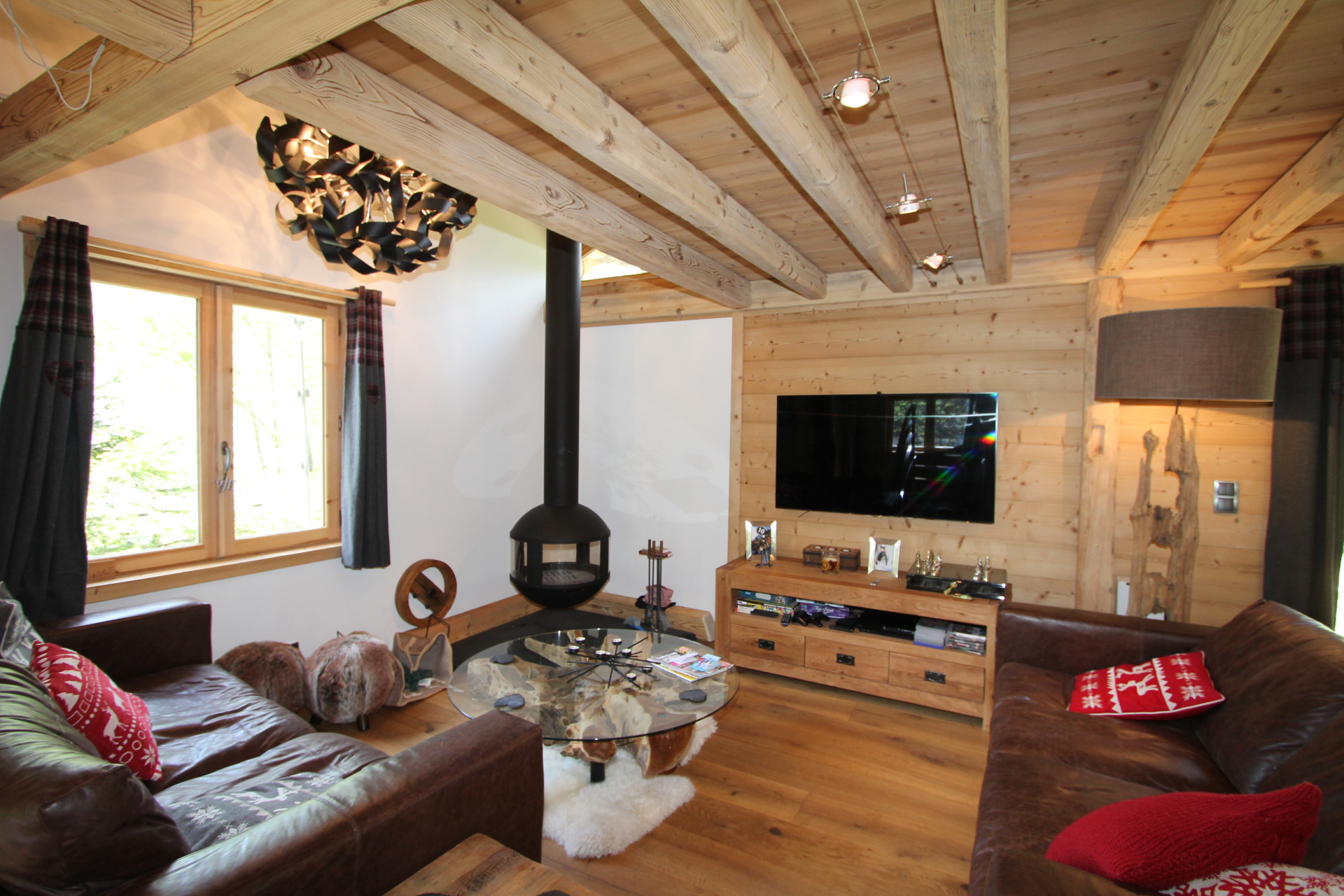 The completed chalet living room