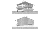 North and south elevations of chalet on triangle plot