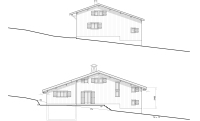 North facade elevation, before & after