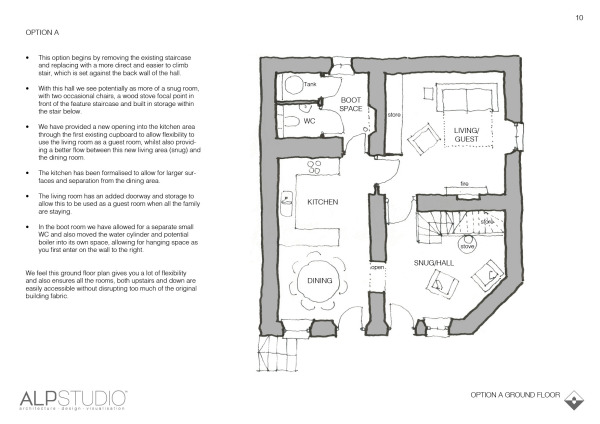 Page 9 : suggested ground floor layout, option A