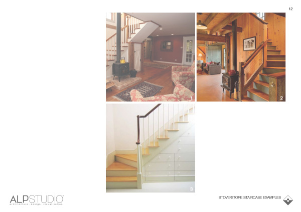 Page 11 : examples of staircases with stoves nearby