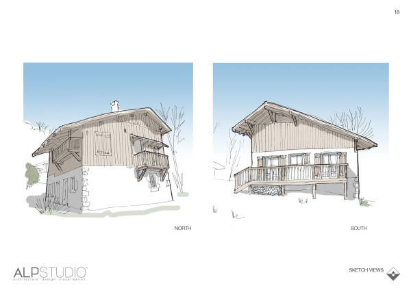 Page 17 : sketch views of proposed exterior changes